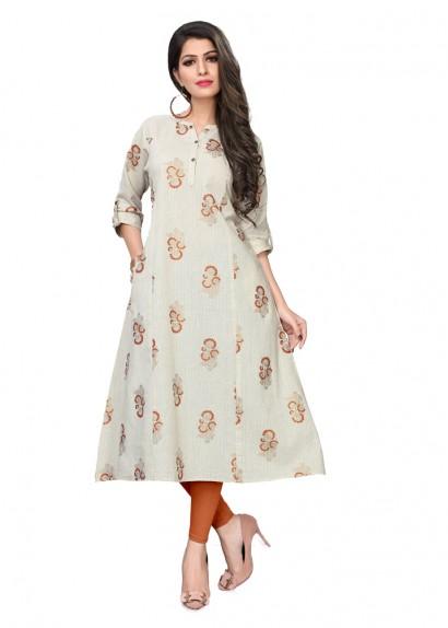 d324da8715c Off white cotton flex flared kurti with prints