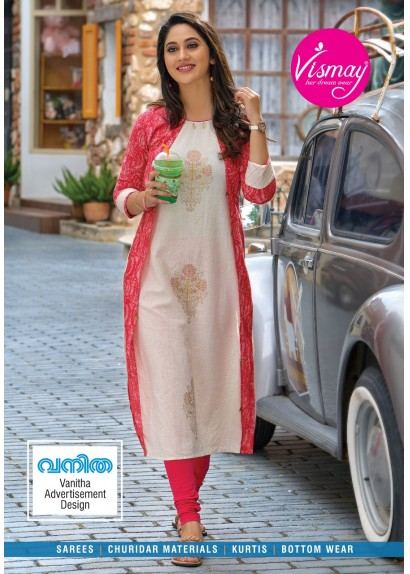 775b8ee6e18 Off white and Pink linen cotton kurti with print