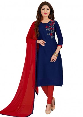 24f5acc25c Navy Blue and Red modal silk churidar material with beads.
